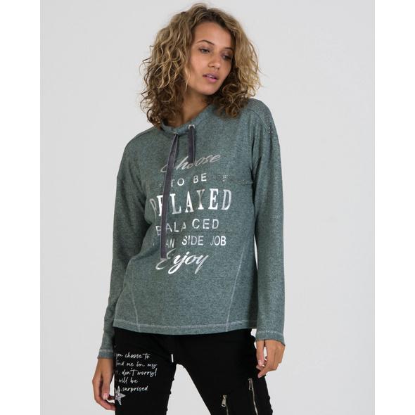 Sweatshirt mit Folienschrift in Seegras