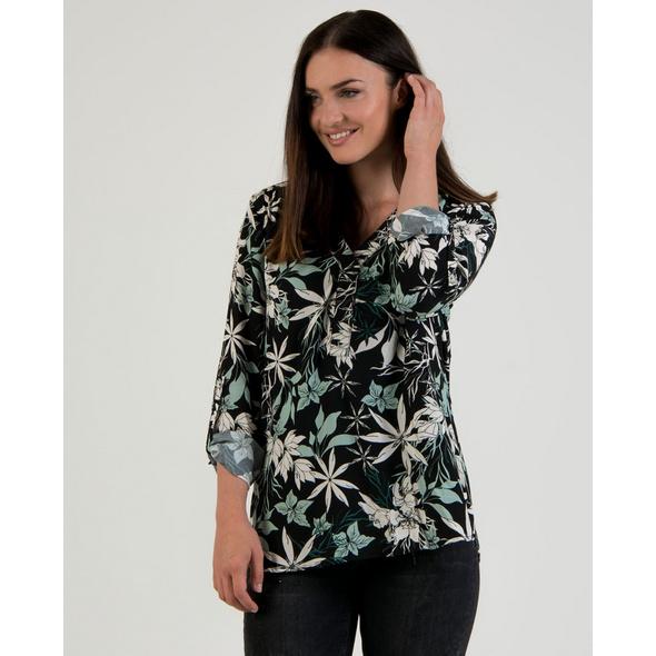 Viskose-Bluse mit Blätterprint