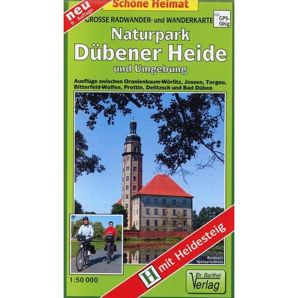 Radwander- und Wanderkarte Naturpark Dübener Heide und Umgebung 1 : 50 000
