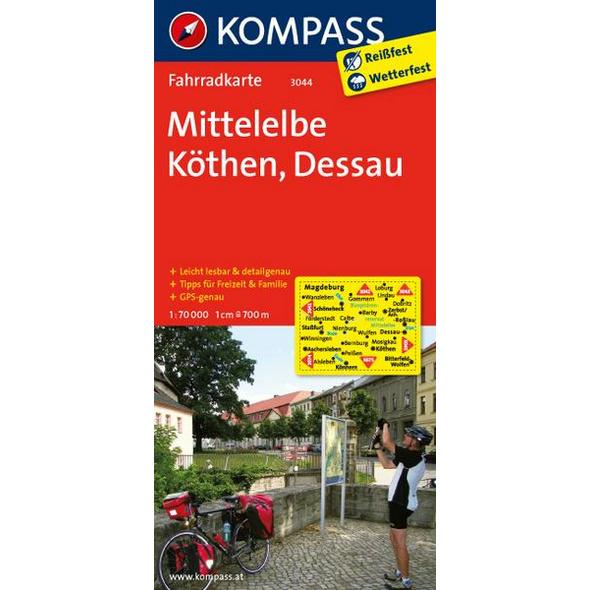 KOMPASS Fahrradkarte Mittelelbe - Köthen - Dessau